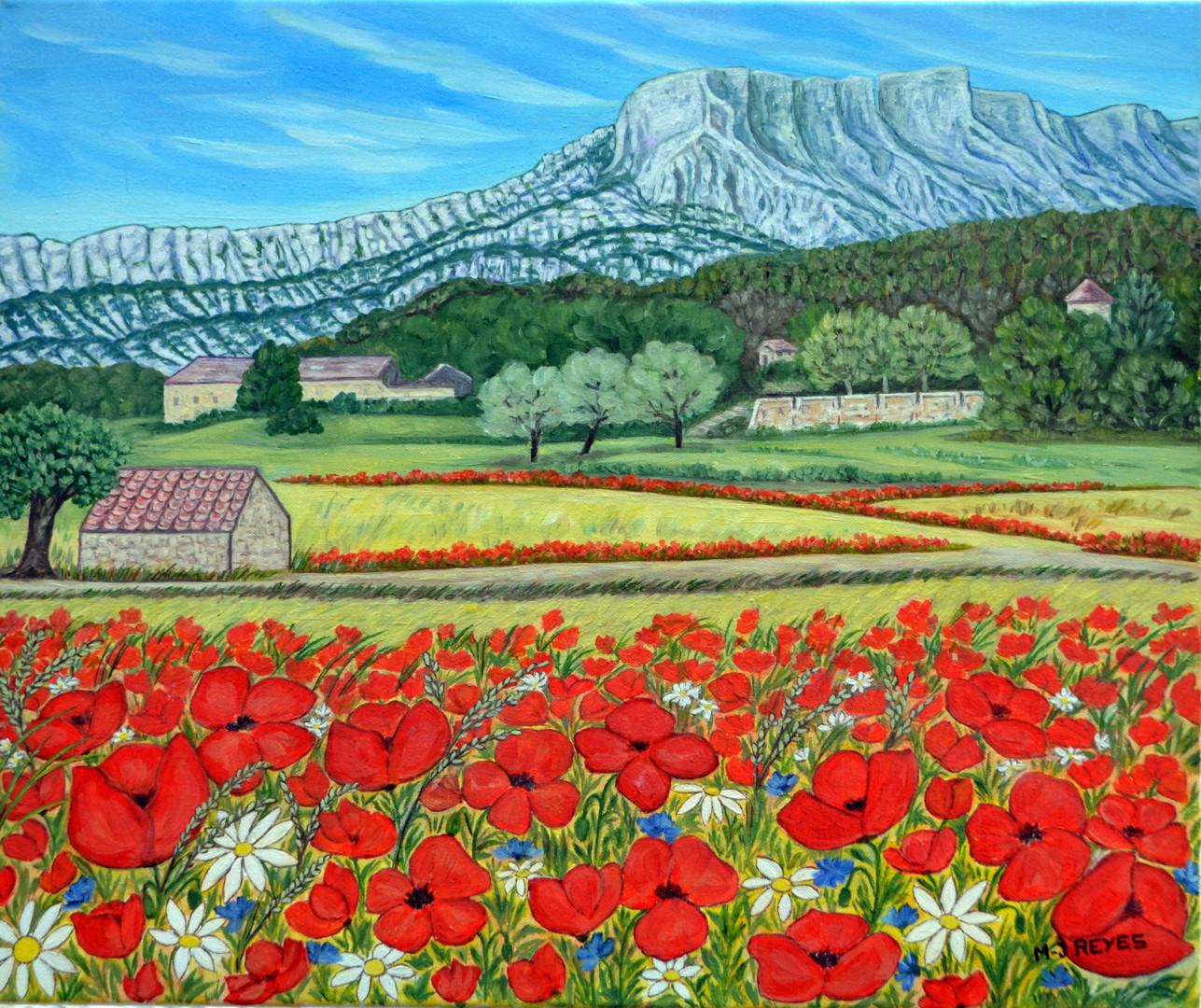 Marie-Josée Reyes - Coquelicots au pied de la montagne Sainte Victoire