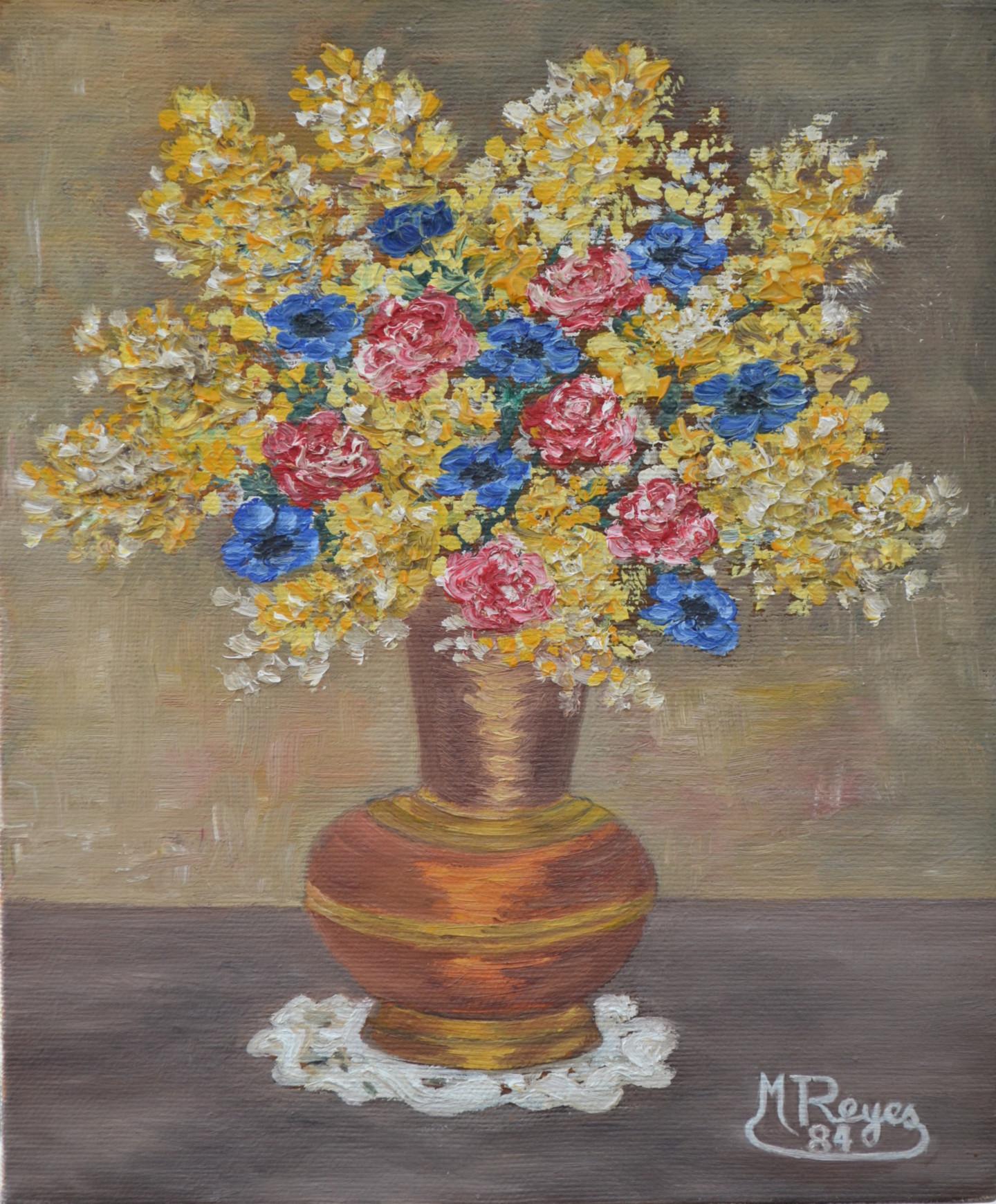 Marie-Josée Reyes - Bouquet de mimosas et anémones
