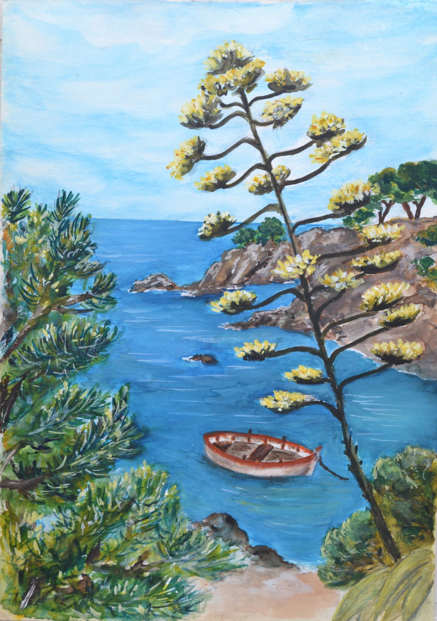 Marie-Josée Reyes - Barque dans une crique de la côte vermeille