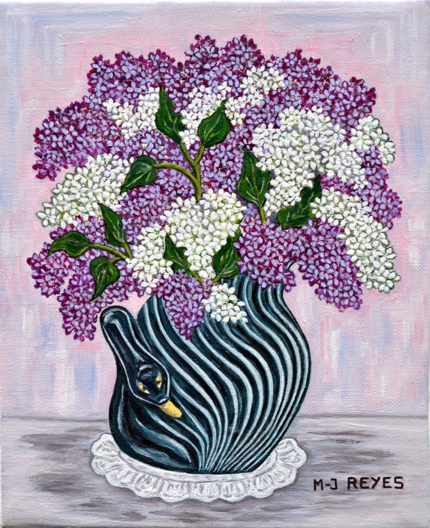 Marie-Josée Reyes - Bouquet de lilas dans vase cygne