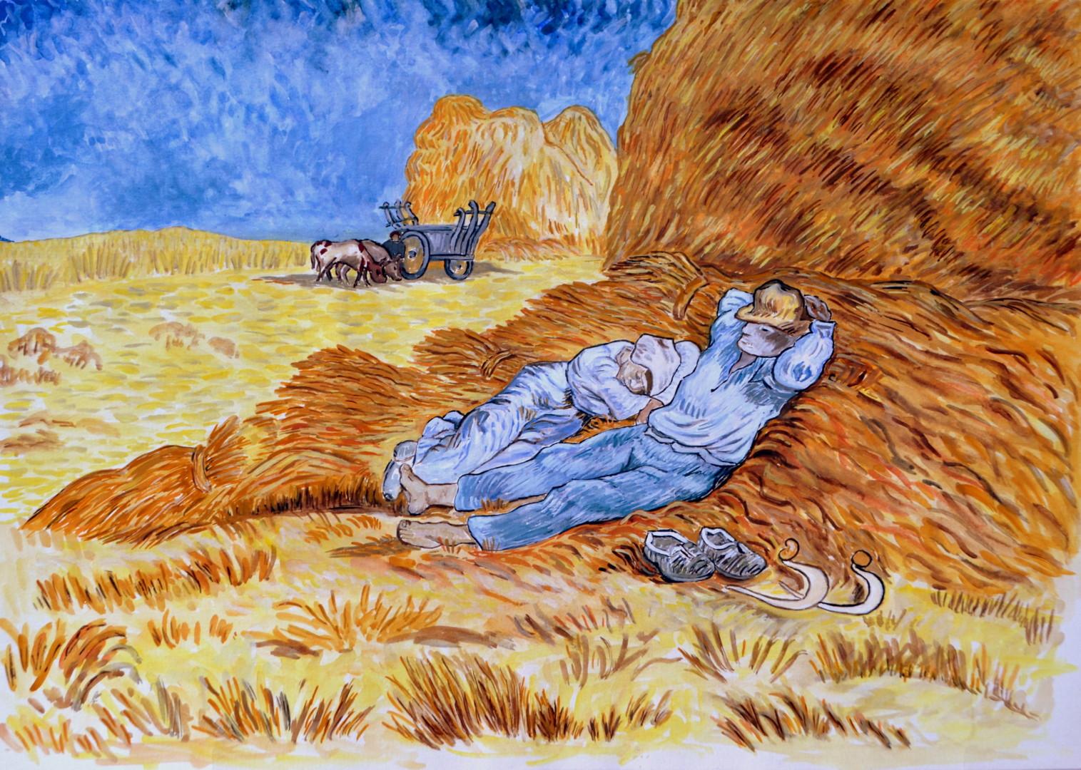 """Marie-Josée Reyes - """"La sieste"""" copie d'après l'oeuvre de Van Gogh"""