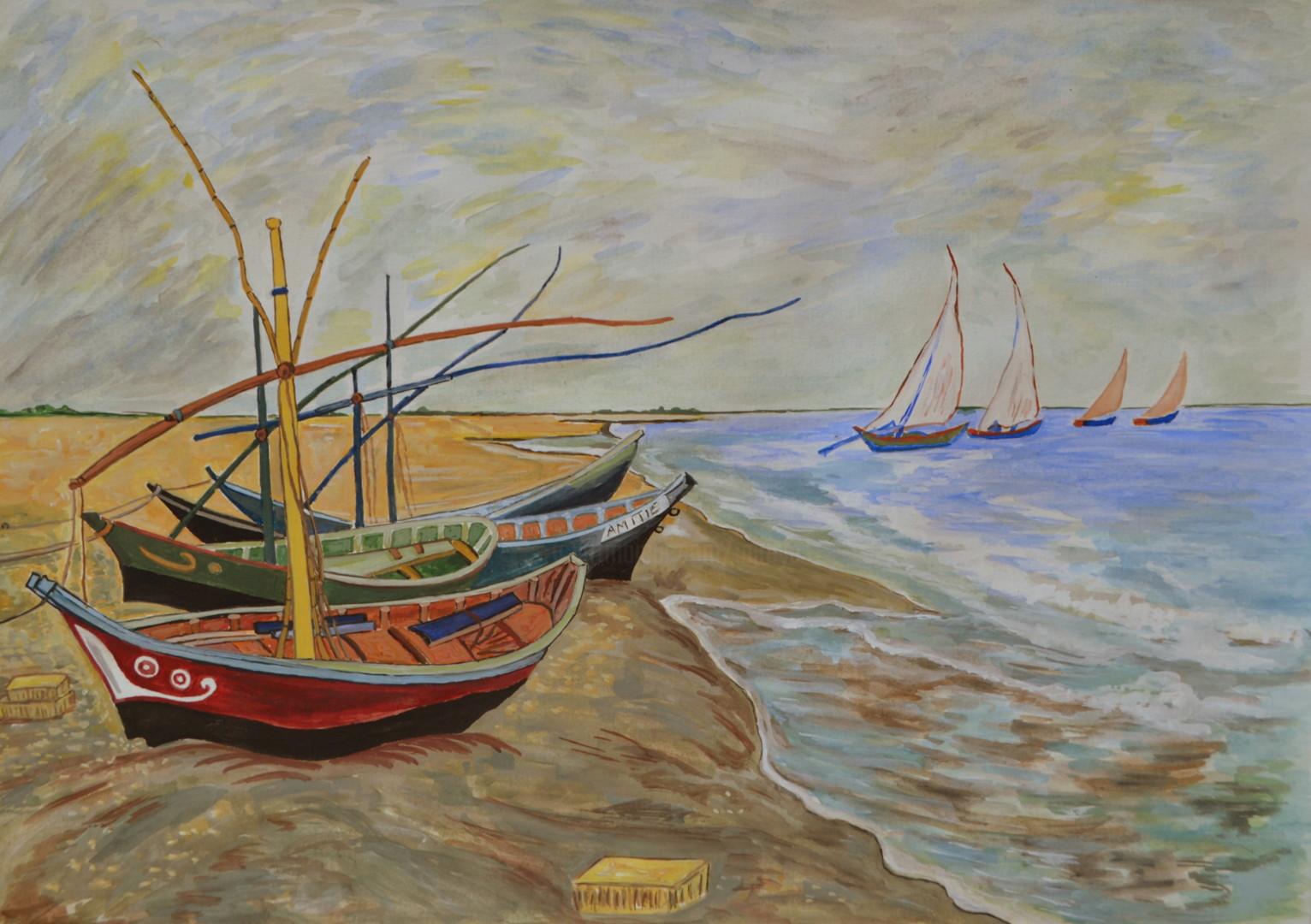 """Marie-Josée Reyes - """"Barques aux Saintes-Maries-de-la Mer"""" copie d'après l'oeuvre de Van Gogh"""