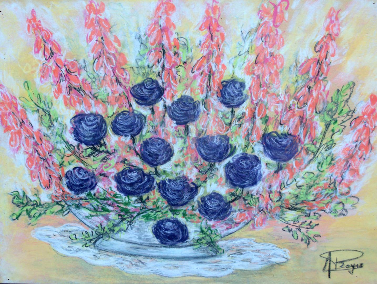 Marie-Josée Reyes - coupe de fleurs, roses et lupins.