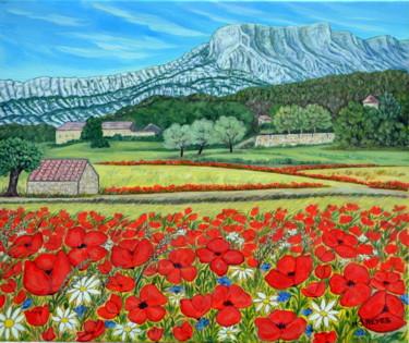 Coquelicots au pied de la montagne Sainte Victoire