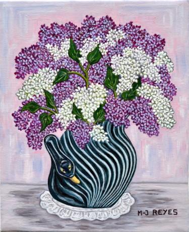 Bouquet de lilas dans vase cygne