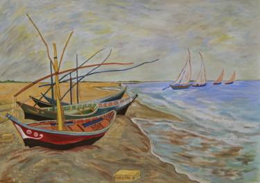 """""""Barques aux Saintes-Maries-de-la Mer"""" copie d'après l'oeuvre de Van Gogh"""