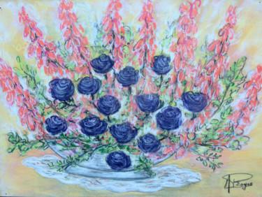 coupe de fleurs, roses et lupins.